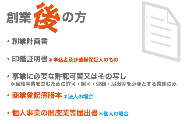 信用保証協会に提出する書類創業後の場合